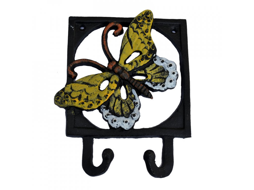 Kovový věšák na zeď - háček Motýl 1