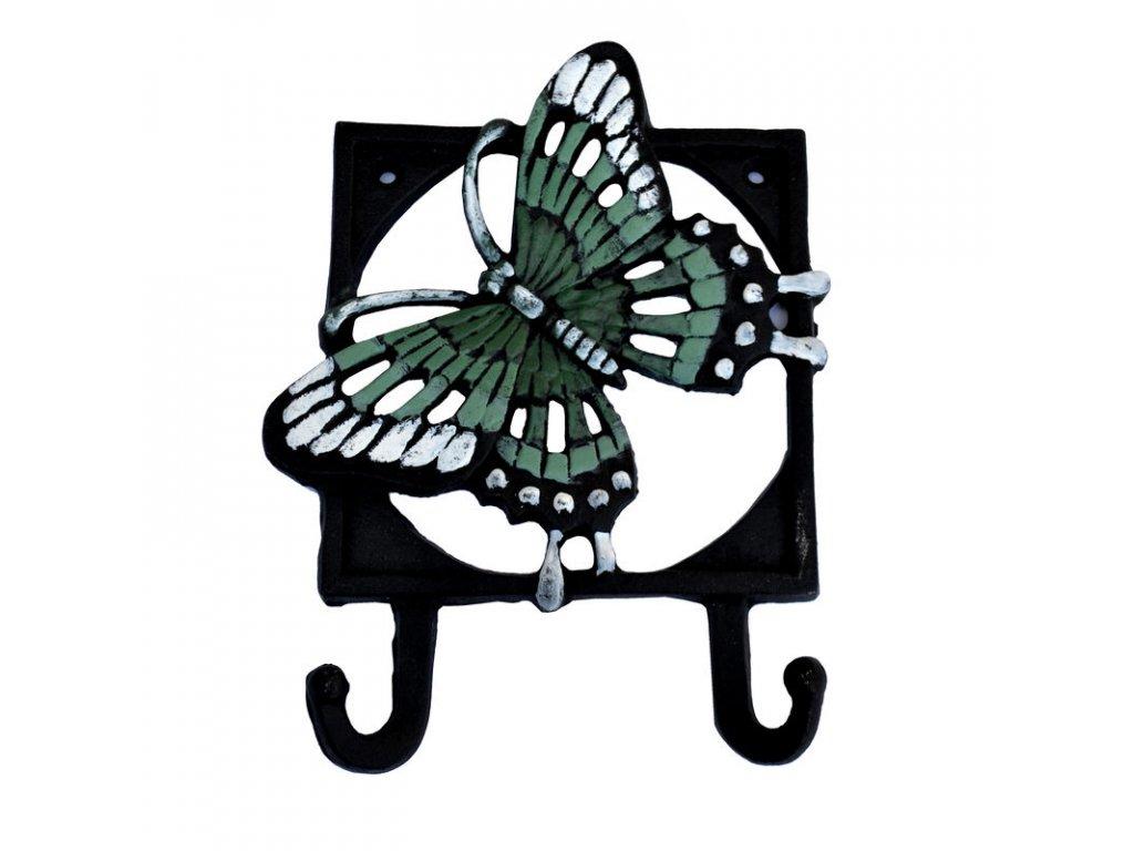Kovový věšák na zeď  - háček Motýl 2