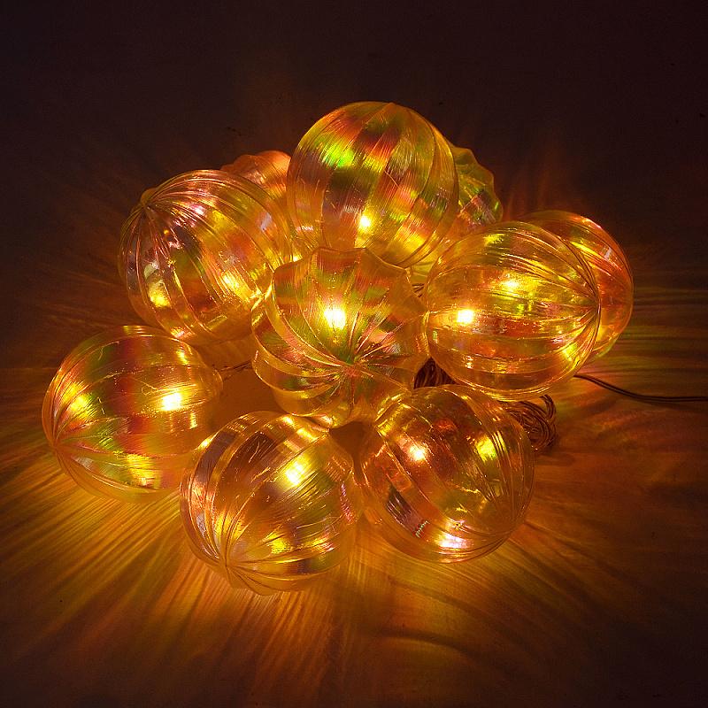 10 LED Solárne vianočné osvetlenie - gule, teplá biela