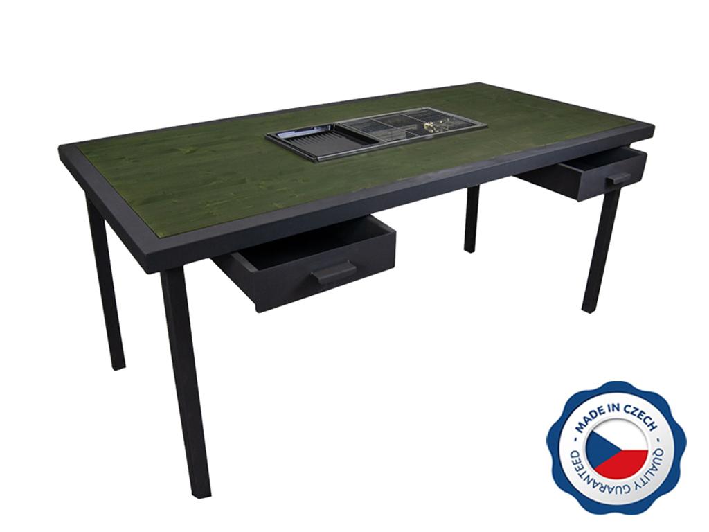 Zahradní grilovací stůl BohemiaCharment L se 2 šuplíky, zeleň jedlová
