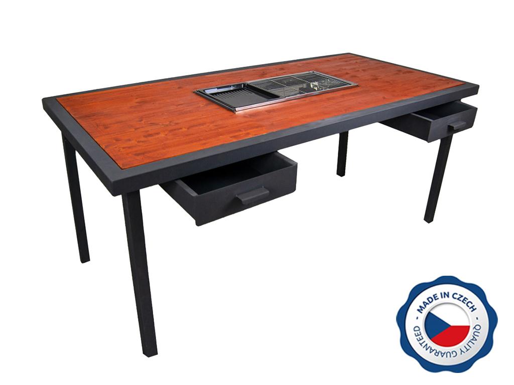 Záhradný grilovací stôl BohemiaCharment s 2 zásuvkami, mahagón