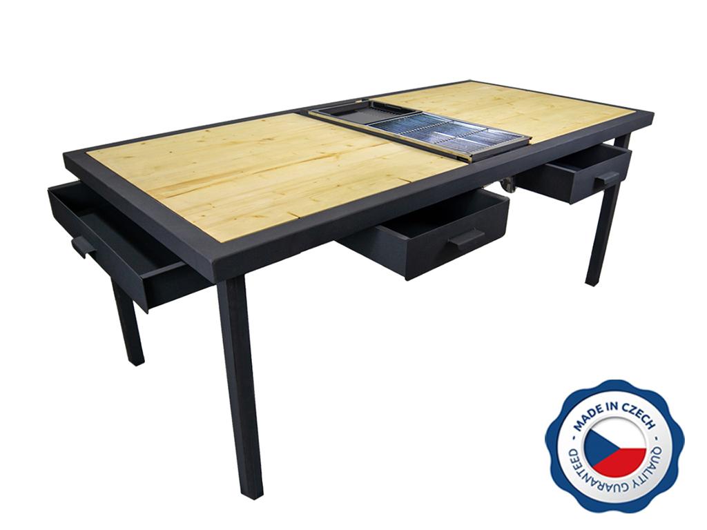 Zahradní grilovací stůl BohemiaCharment M se 3 šuplíky, přírodní