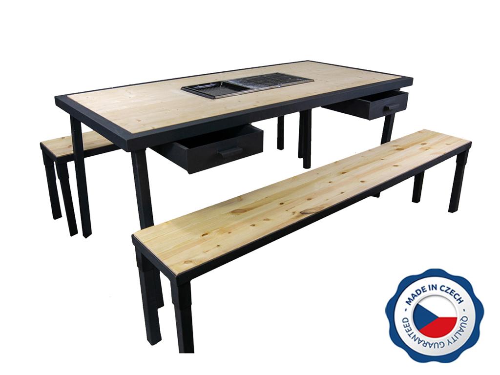 Zahradní grilovací stůl BohemiaCharment SET se 2 šuplíky, přírodní