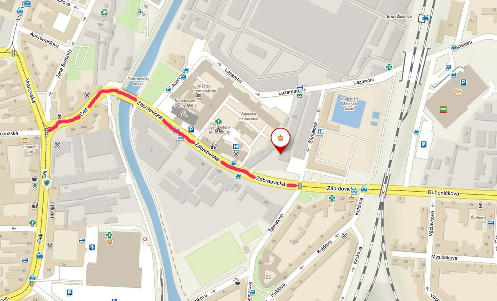 Mapa uzavírky zábrdovického mostu
