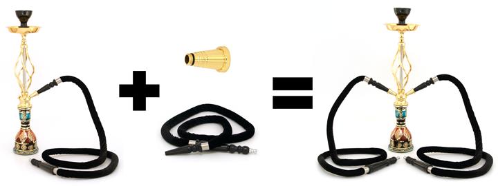 Popis jak připojit další hadici k vodní dýmce.