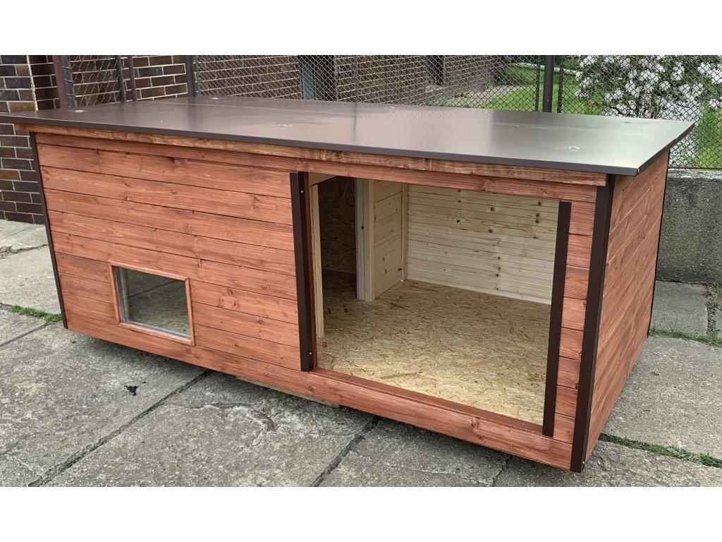 Psí bouda Larry extra large, mahagon, hnědé oplechování, okno 1