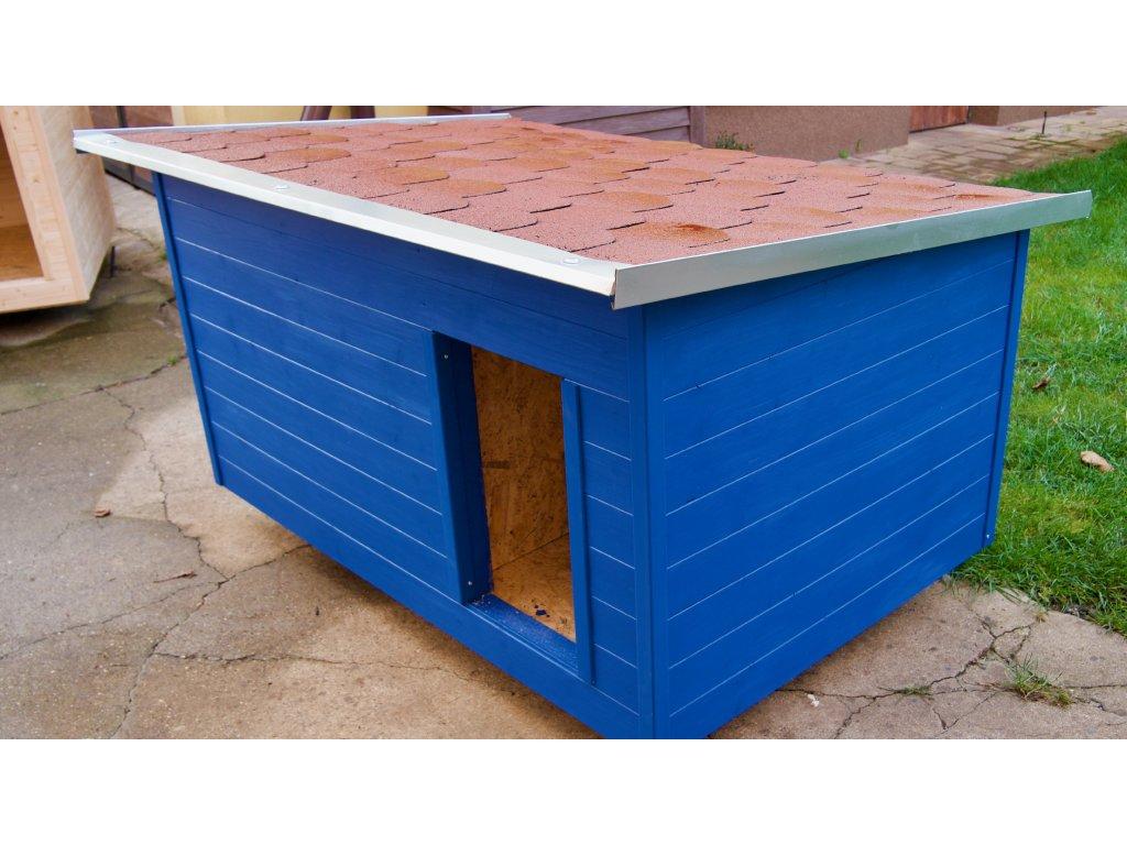 Zateplená psí bouda modrá 2