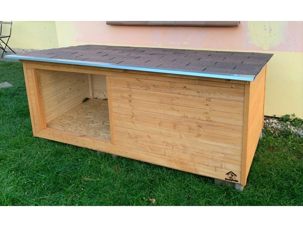 Zateplená psí bouda Larry large, šindelová střecha