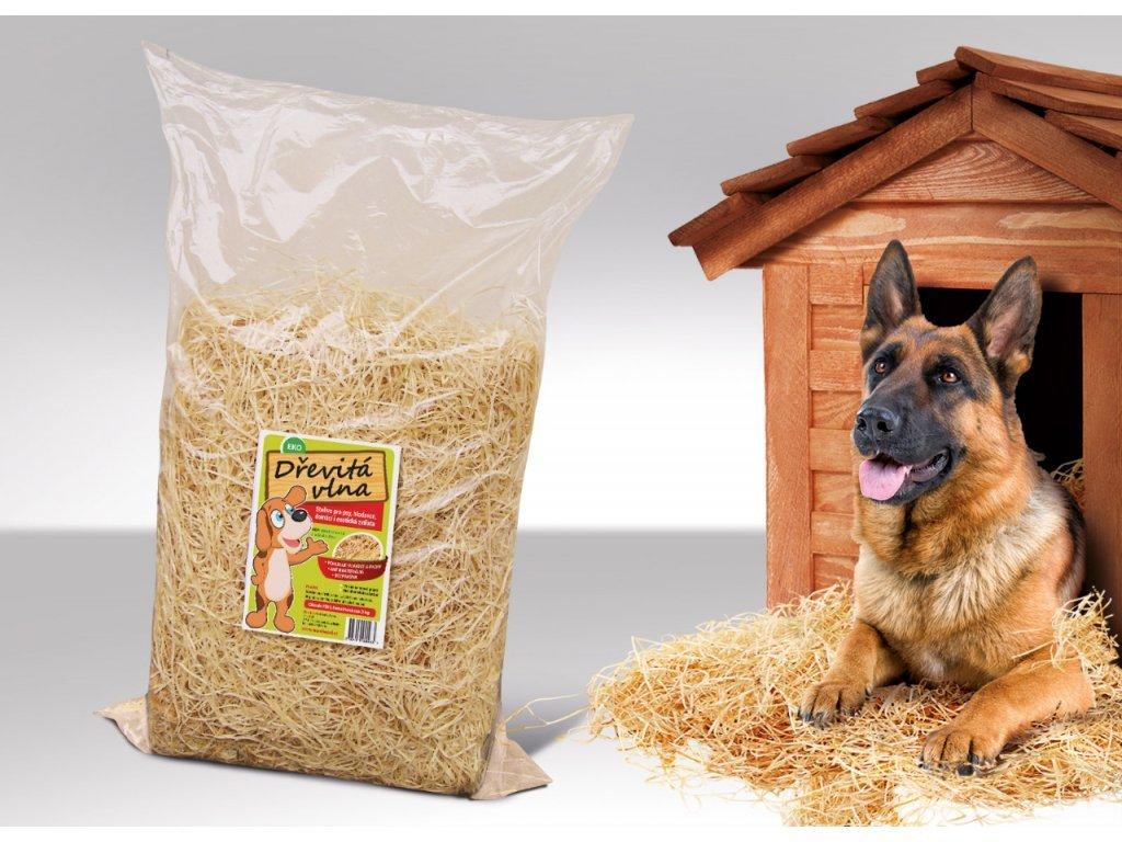 Dřevitá vlna do psí boudy