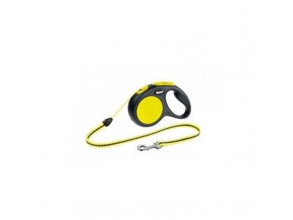 voditko samonavijeci flexi new classic neon s 5 m 12 kg lanko zlute