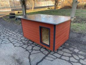 Zateplená psí bouda rozárka, velikost large, šedý plech barva červená