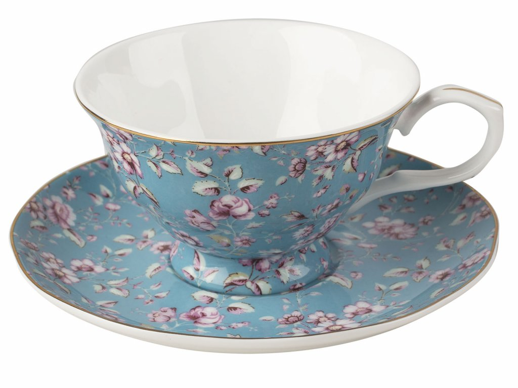 Creative Tops - Porcelánový hrnek s podšálkem Ditsy modrý od Katie Alice - 200 ml