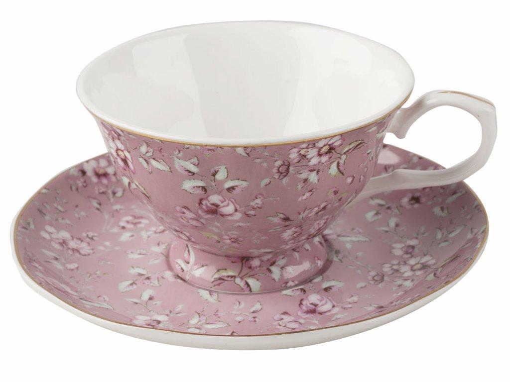 Creative Tops - Porcelánový hrnek s podšálkem Ditsy růžový od Katie Alice - 200 ml