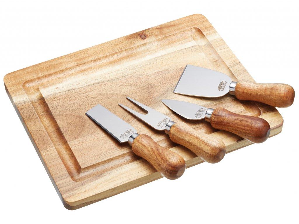 Kitchen Craft - Dřevěné prkénko na sýry s noži /25,5*20 cm/