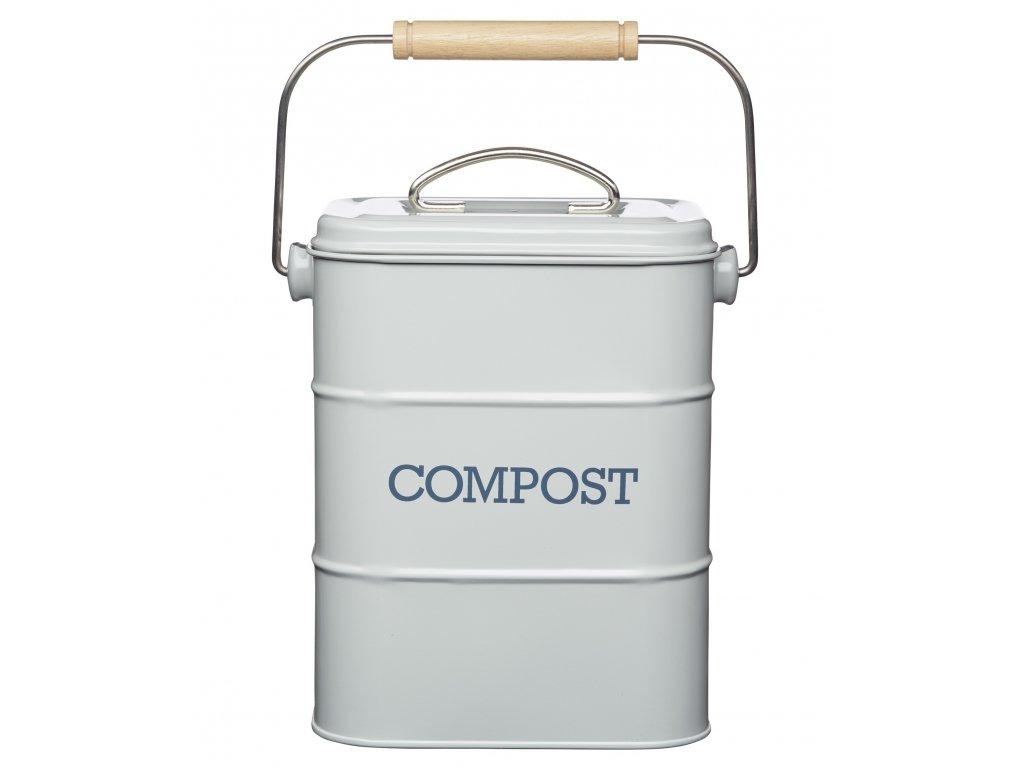Kitchen Craft - Plechový kompostér Living Nostalgia šedý /16,5*12*24/ - 3l