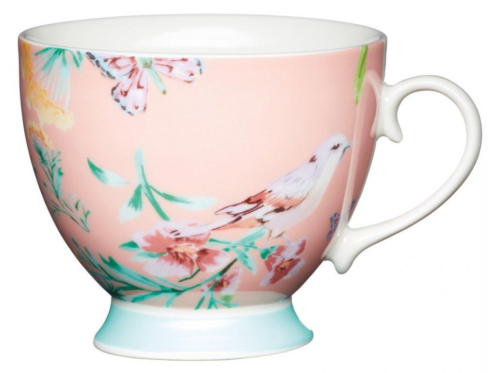 Kitchen Craft - Porcelánový hrníček Peach Birds - 400 ml