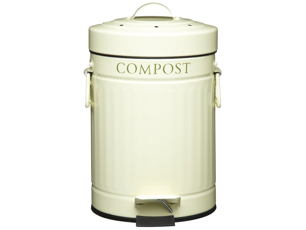 Kitchen Craft - Plechový kompostér krémový Living Nostalgia - 3000 ml