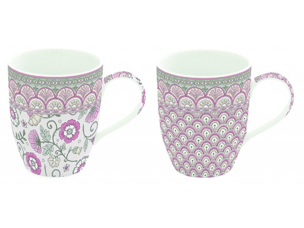 Easy Life - Sada porcelánových hrnků Kalamkari růžová - 2*350 ml