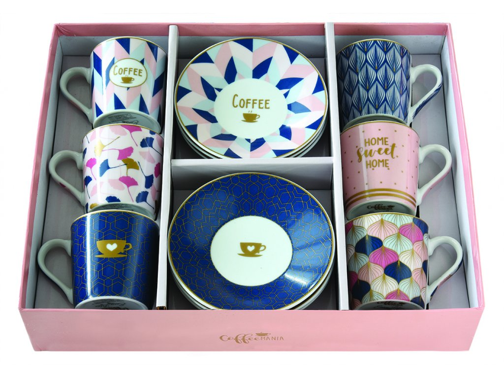Easy Life - Porcelánové šálky a podšálky na kávu Home Sweet Home - 6*100 ml