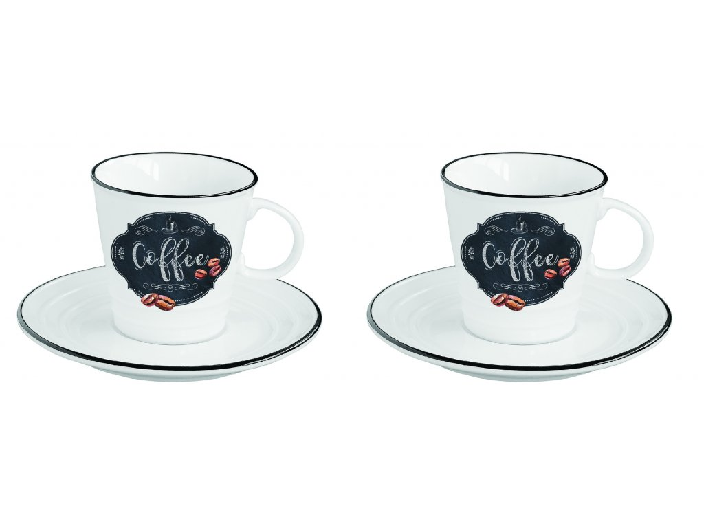 Easy Life - Porcelánové šálky a podšálky na espresso Kitchen Basic - 2*100 ml