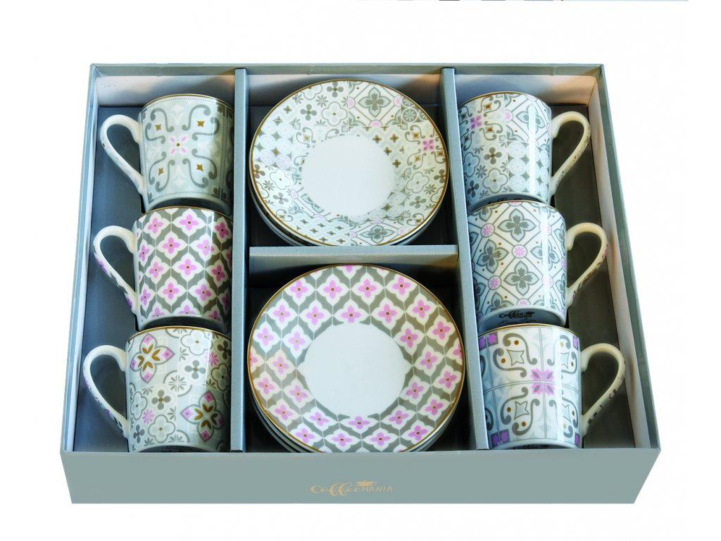Easy Life - Porcelánové šálky a podšálky na kávu Tiles Grey - 6*100 ml