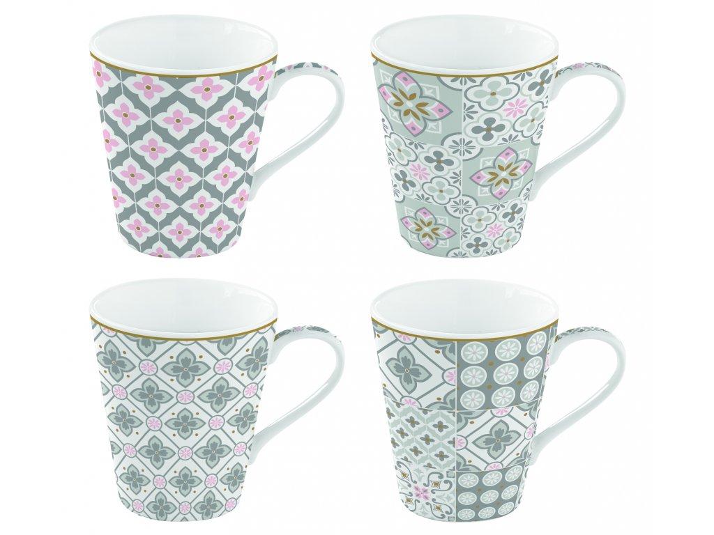 Easy Life - Porcelánové hrnky na kávu Tiles Grey - 4*300 ml