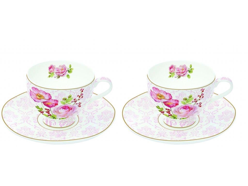 Easy Life - Porcelánové šálky a podšálky na espresso Floral Damask - 2*75 ml