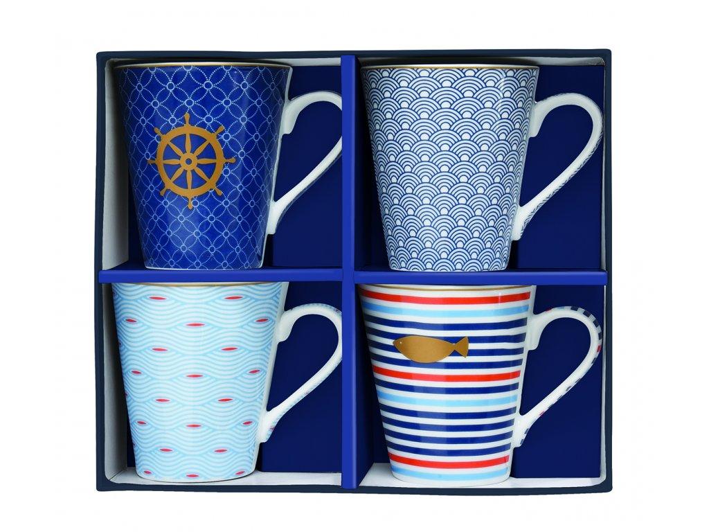 Easy Life - Porcelánové hrnky na kávu Mania Bord De Mer - 4*300 ml