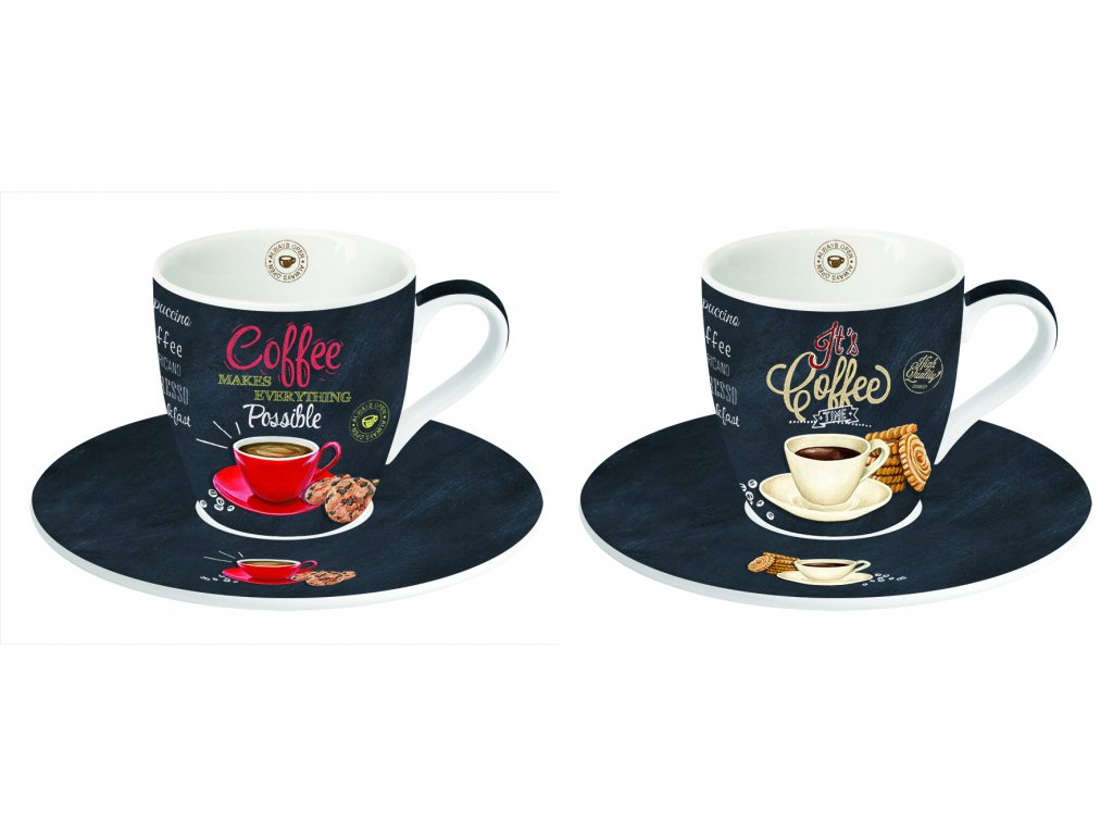 Easy Life - Porcelánové šálky a podšálky na kávu It´s Coffee Time - 2*90 ml