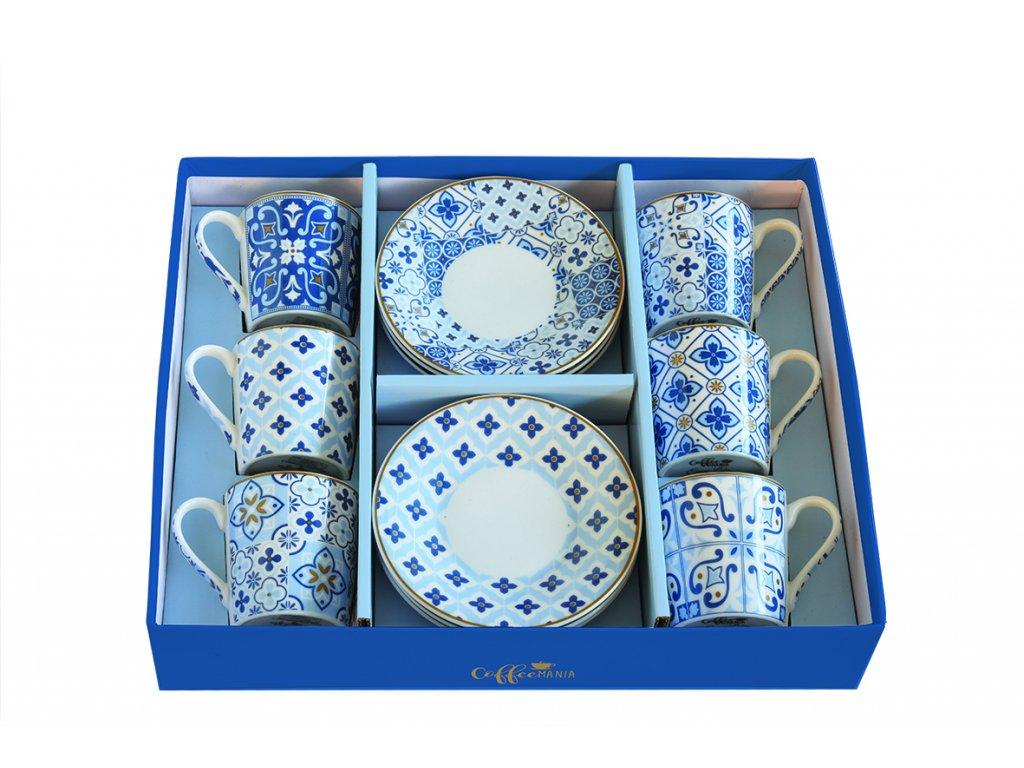 Easy Life - Porcelánové šálky a podšálky na kávu Tiles Blue - 6*100 ml