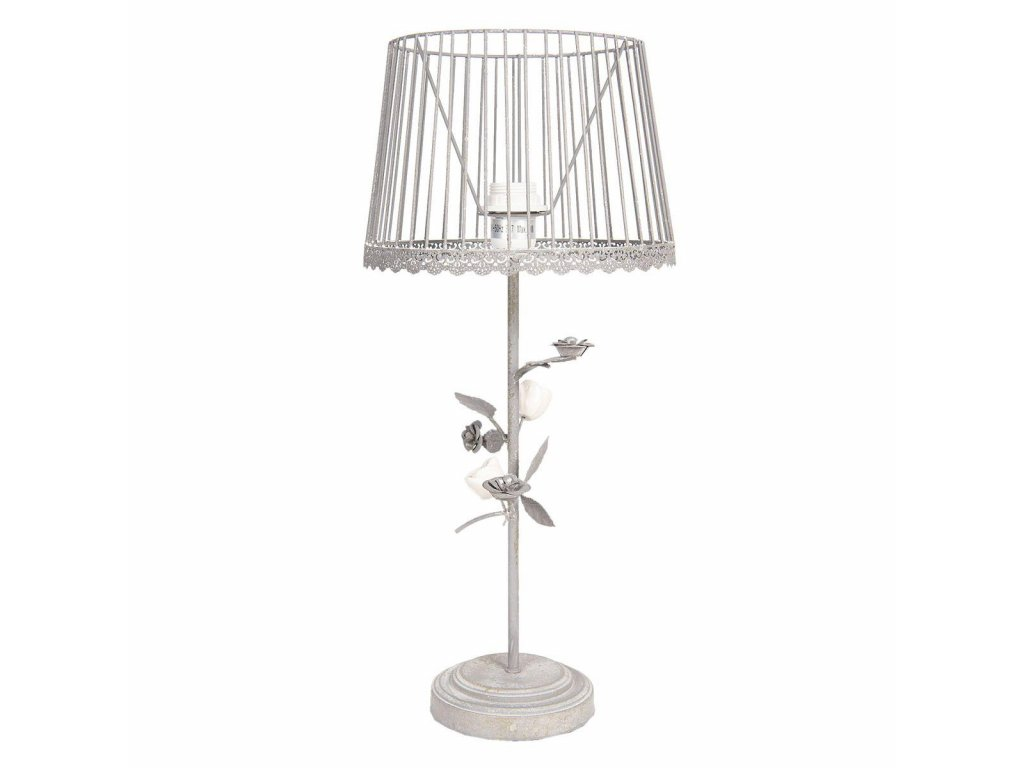 Clayre & Eef - Kovová stolní lampa ve stylu provence s růžičkami - Ø 20*48 cm