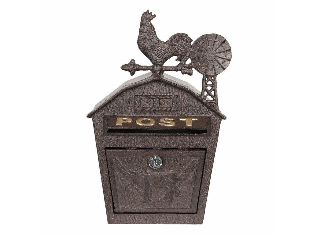 Clayre & Eef - Poštovní schránka s kohoutem - 24*9*38 cm