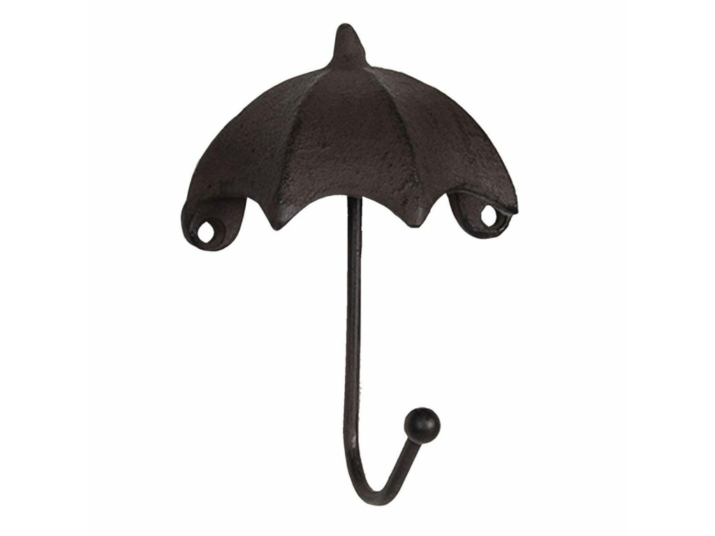 Clayre & Eef - Kovový háček ve tvaru deštníku v hnědé barvě - 10*5*13 cm
