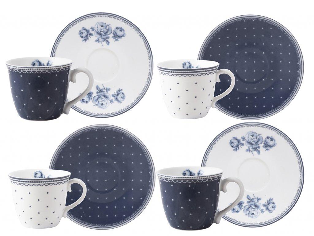 Creative Tops - Porcelánové hrnky na espresso Vintage Indigo od Katie Alice - 4*80 ml