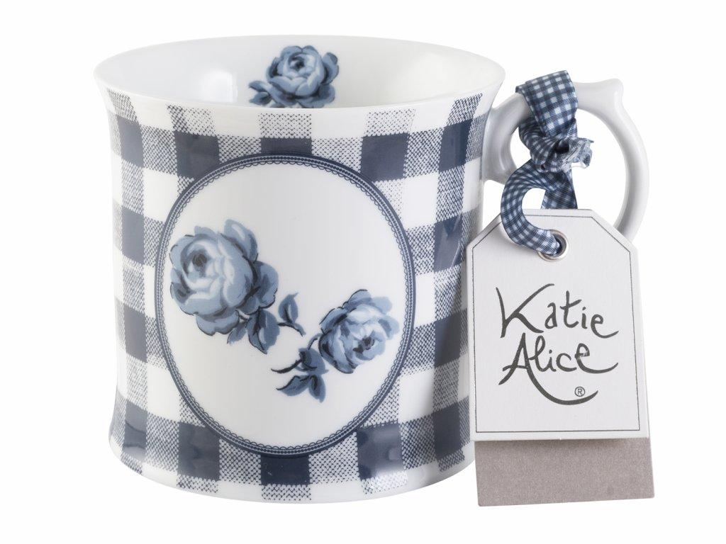 Creative Tops - Porcelánový hrnek Gingham Vintage Indigo Floral od Katie Alice - /9*13*10 cm/ - 400 ml