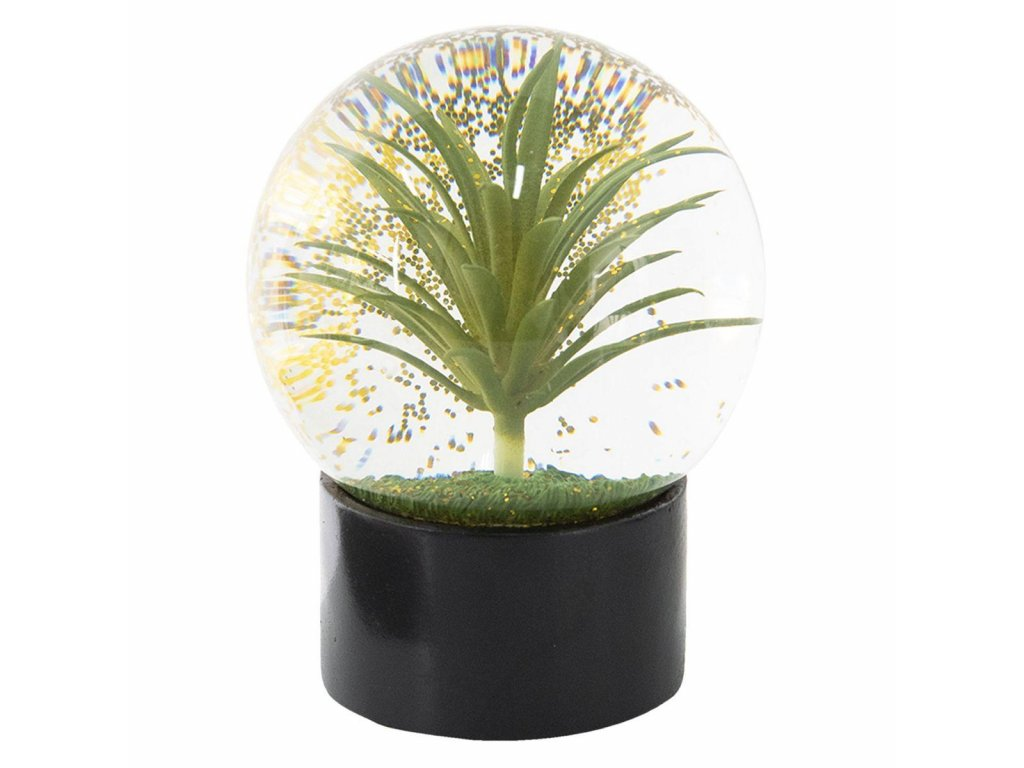 Clayre & Eef - Krásné sněžítko se zelenou palmou - Ø 12*15 cm
