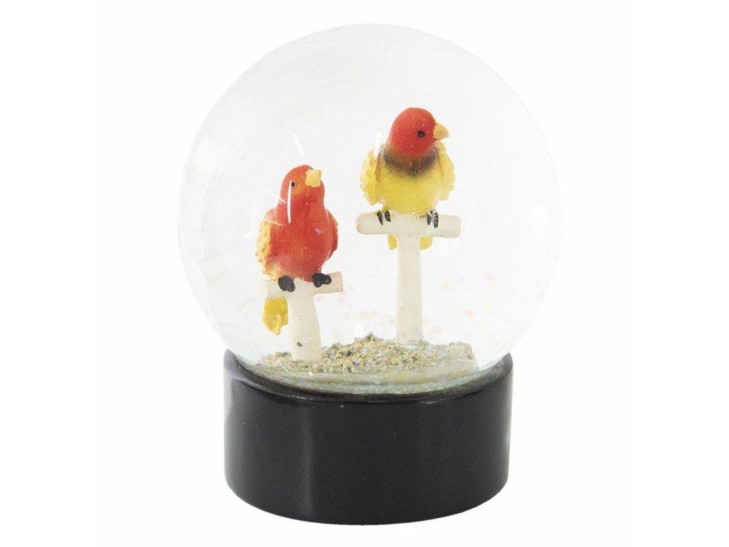 Sněžítko s barevnými ptáčky na bidýlku