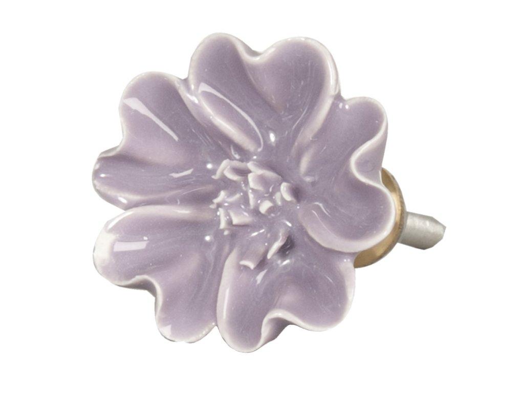 Clayre & Eef - Nábytková úchytka - květ fialové barvy