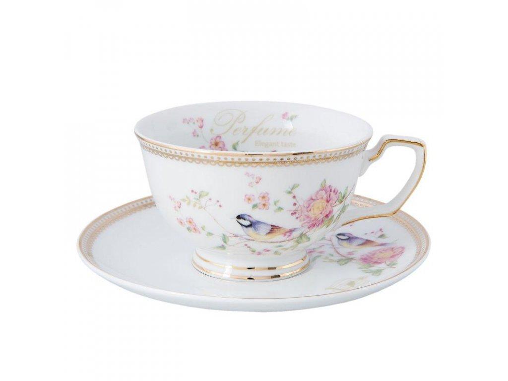 Clayre & Eef - Porcelánový šálek s podšálkem s květinami a ptáčkem - Ø 15*7 cm / 0.15 L