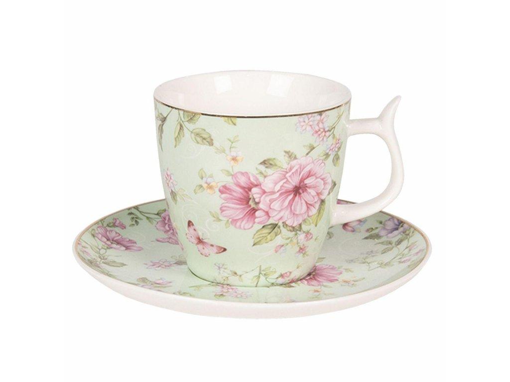 Clayre & Eef - Porcelánový šálek s podšálkem s květy a motýlkem na zeleném podkladu - Ø 13*2 / Ø 7*7 cm / 0,16L