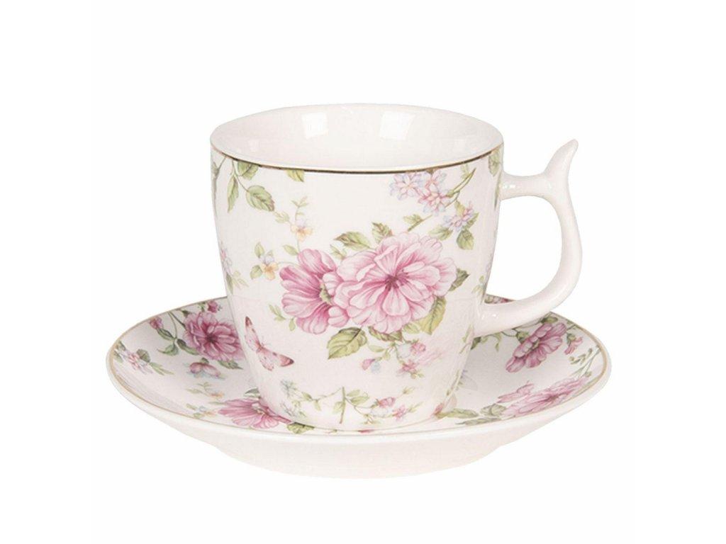 Clayre & Eef - Porcelánový šálek s podšálkem s květy a motýlkem na růžovém podkladu - Ø 13*2 / Ø 7*7 cm / 0,16L