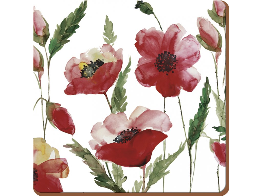 Korkové podložky pod hrníčky Watercolour Poppie