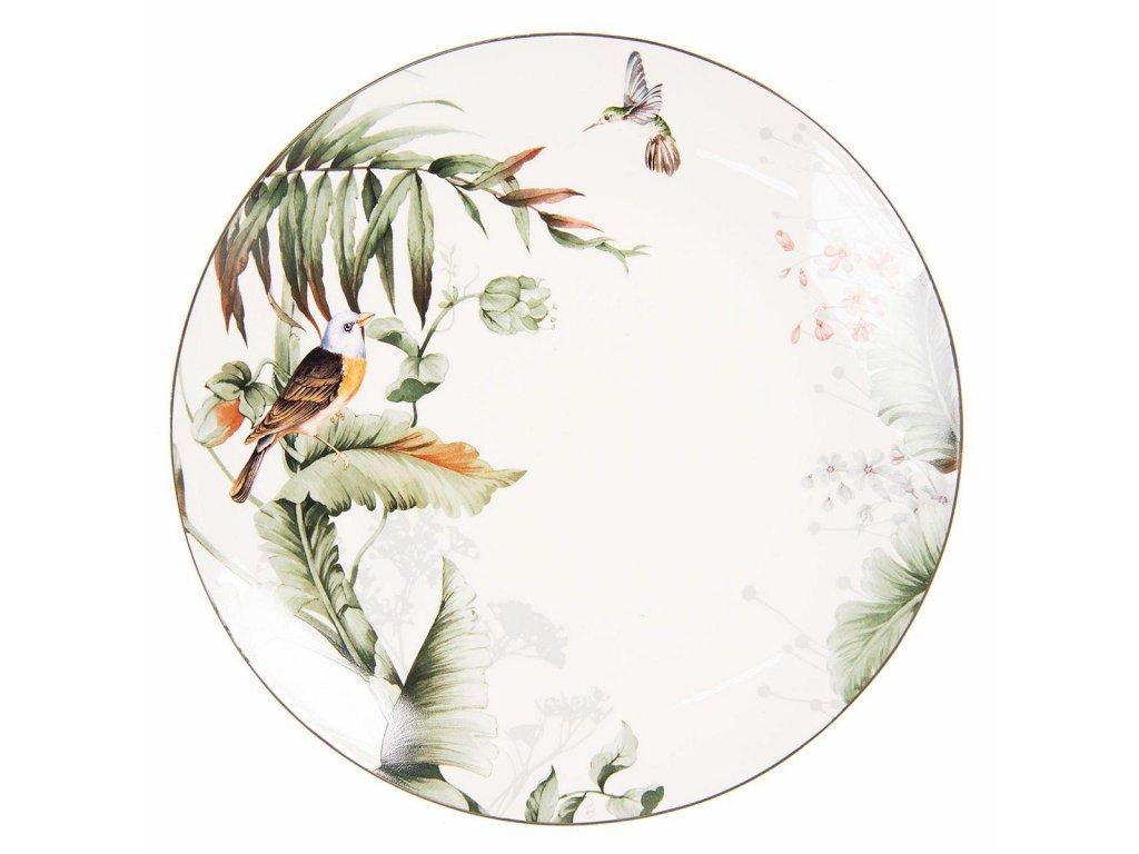 Clayre & Eef - Jídelní talíř TROPICAL BIRDS - Ø 26*2 cm