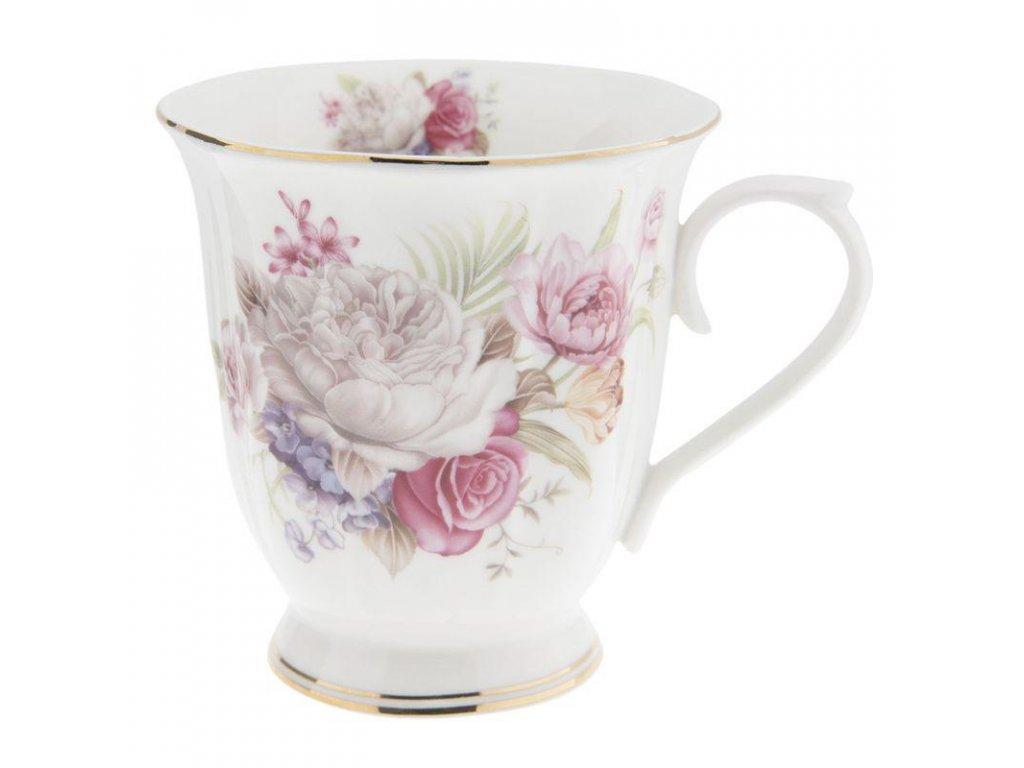 Clayre & Eef - Porcelánový hrníček v dekoru rozkvetlých květin - Ø 12*9*10 cm