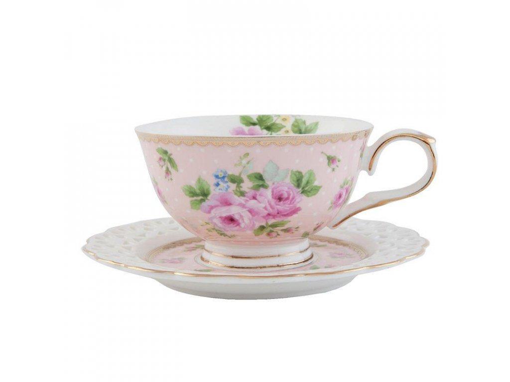 Clayre & Eef - Porcelánový šálek s podšálkem - 13*10*6 cm / 0,15 L