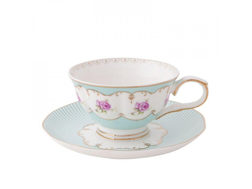 Clayre & Eef - Porcelánový šálek s podšálkem - Ø 15*8 cm / 0,22L