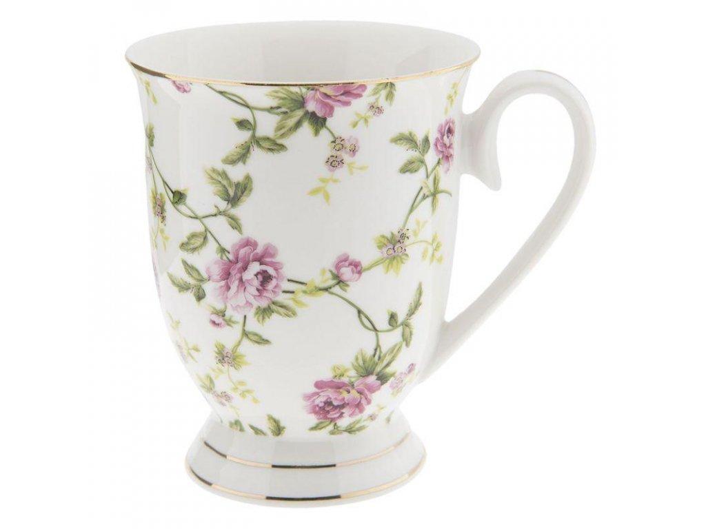 Clayre & Eef - Porcelánový hrníček s květy se stonkama - 11*8*10 cm