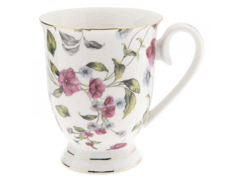 Clayre & Eef - Porcelánový hrníček s květy - 11*8*10 cm