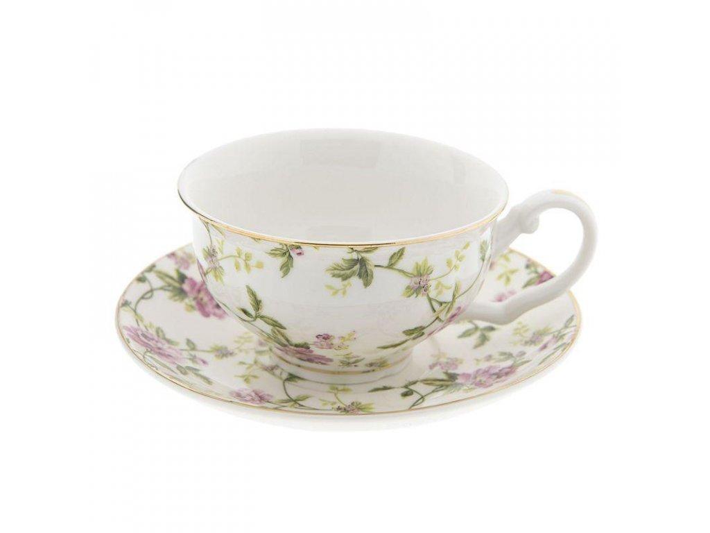 Clayre & Eef - Porcelánový šálek s podšálkem s pnoucí kvetoucí rostlinou - Ø 13*2 / 12*9*5 cm