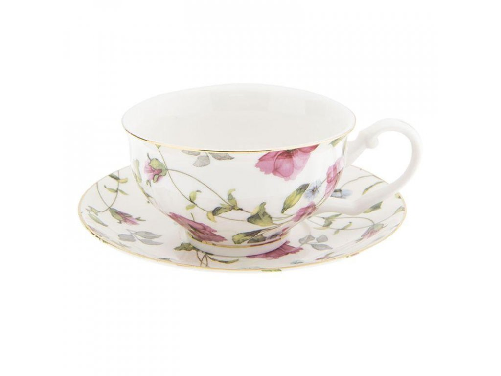 Clayre & Eef - Porcelánový šálek s podšálkem s kvetoucí rostlinou - Ø 13*2 / 12*9*5 cm
